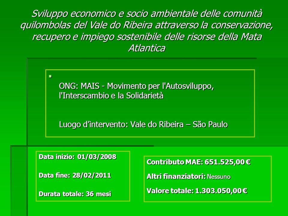 Sviluppo economico e socio ambientale delle comunità quilombolas del Vale do Ribeira attraverso la conservazione, recupero e impiego sostenibile delle risorse della Mata Atlantica ONG: MAIS - Movimento per l Autosviluppo, l Interscambio e la Solidarietà Luogo dintervento: Vale do Ribeira – São Paulo ONG: MAIS - Movimento per l Autosviluppo, l Interscambio e la Solidarietà Luogo dintervento: Vale do Ribeira – São Paulo Contributo MAE: 651.525,00 Contributo MAE: 651.525,00 Altri finanziatori: Nessuno Valore totale: 1.303.050,00 Valore totale: 1.303.050,00 Data inizio: 01/03/2008 Data fine: 28/02/2011 Durata totale: 36 mesi