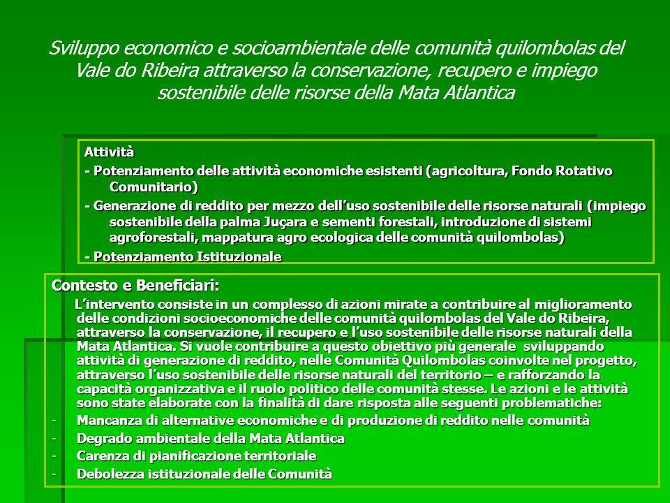 Contesto e Beneficiari: Lintervento consiste in un complesso di azioni mirate a contribuire al miglioramento delle condizioni socioeconomiche delle comunità quilombolas del Vale do Ribeira, attraverso la conservazione, il recupero e luso sostenibile delle risorse naturali della Mata Atlantica.