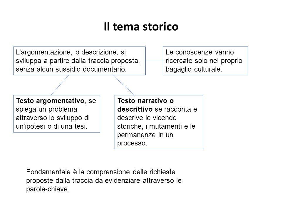 Il tema storico Largomentazione, o descrizione, si sviluppa a partire dalla traccia proposta, senza alcun sussidio documentario.