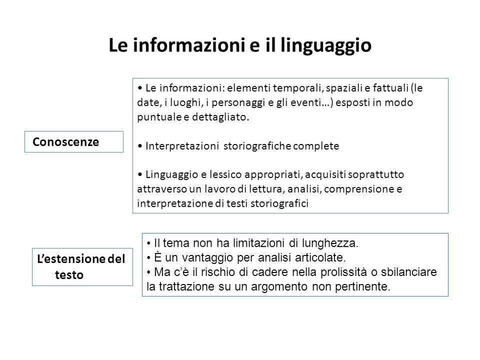 Le informazioni e il linguaggio Le informazioni: elementi temporali, spaziali e fattuali (le date, i luoghi, i personaggi e gli eventi…) esposti in modo puntuale e dettagliato.