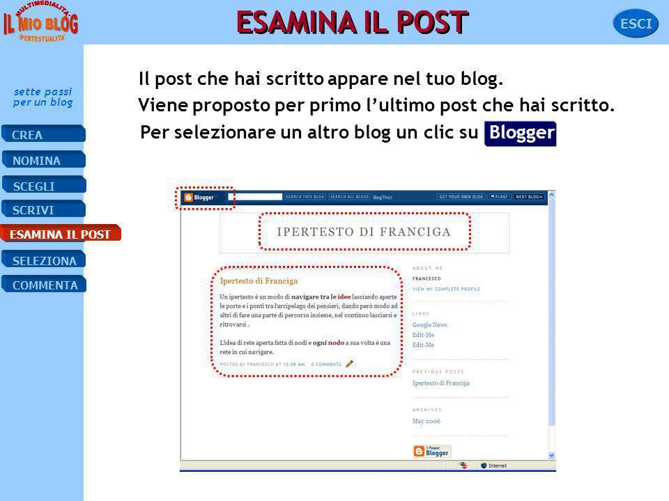 SCRIVI ESAMINA NOMINA CREA SELEZIONA SCEGLI COMMENTA sette passi per un blog ESCI SCRIVI UN POST Nella finestra che si apre scrivi il tuo post. Assegn