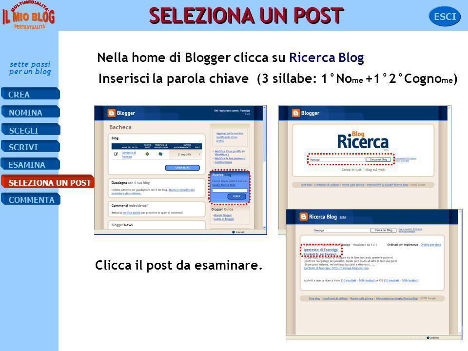 SCRIVI ESAMINA NOMINA CREA SELEZIONA SCEGLI COMMENTA sette passi per un blog ESCI ESAMINA IL POST Il post che hai scritto appare nel tuo blog. Per sel