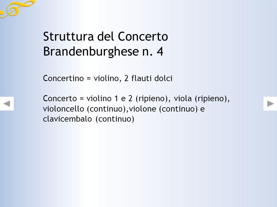 Lorganico del Concerto Brandenburghese n. 4, in tre movimenti, prevede infatti un concertino formato da due flauti dolci e un violino principale. Tutt
