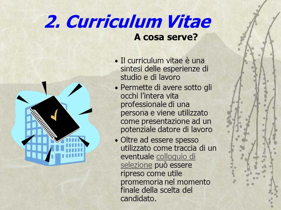2. Curriculum Vitae A cosa serve? Il curriculum vitae è una sintesi delle esperienze di studio e di lavoro Permette di avere sotto gli occhi lintera v