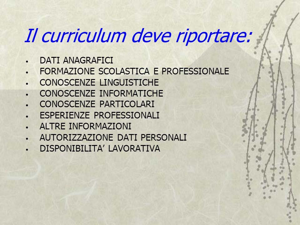 Il curriculum deve riportare: DATI ANAGRAFICI FORMAZIONE SCOLASTICA E PROFESSIONALE CONOSCENZE LINGUISTICHE CONOSCENZE INFORMATICHE CONOSCENZE PARTICO