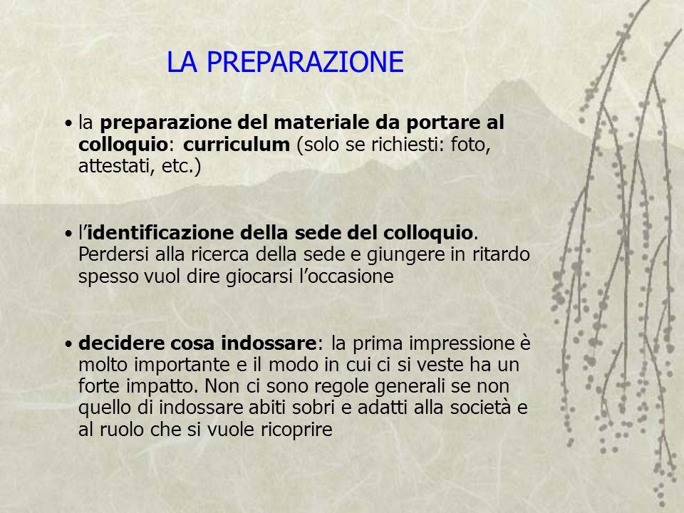 la preparazione del materiale da portare al colloquio: curriculum (solo se richiesti: foto, attestati, etc.) lidentificazione della sede del colloquio