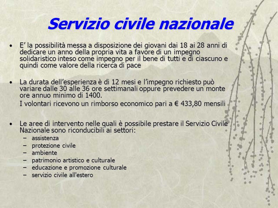 Servizio civile nazionale E la possibilità messa a disposizione dei giovani dai 18 ai 28 anni di dedicare un anno della propria vita a favore di un im
