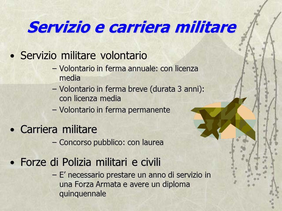 Servizio e carriera militare Servizio militare volontario –Volontario in ferma annuale: con licenza media –Volontario in ferma breve (durata 3 anni):