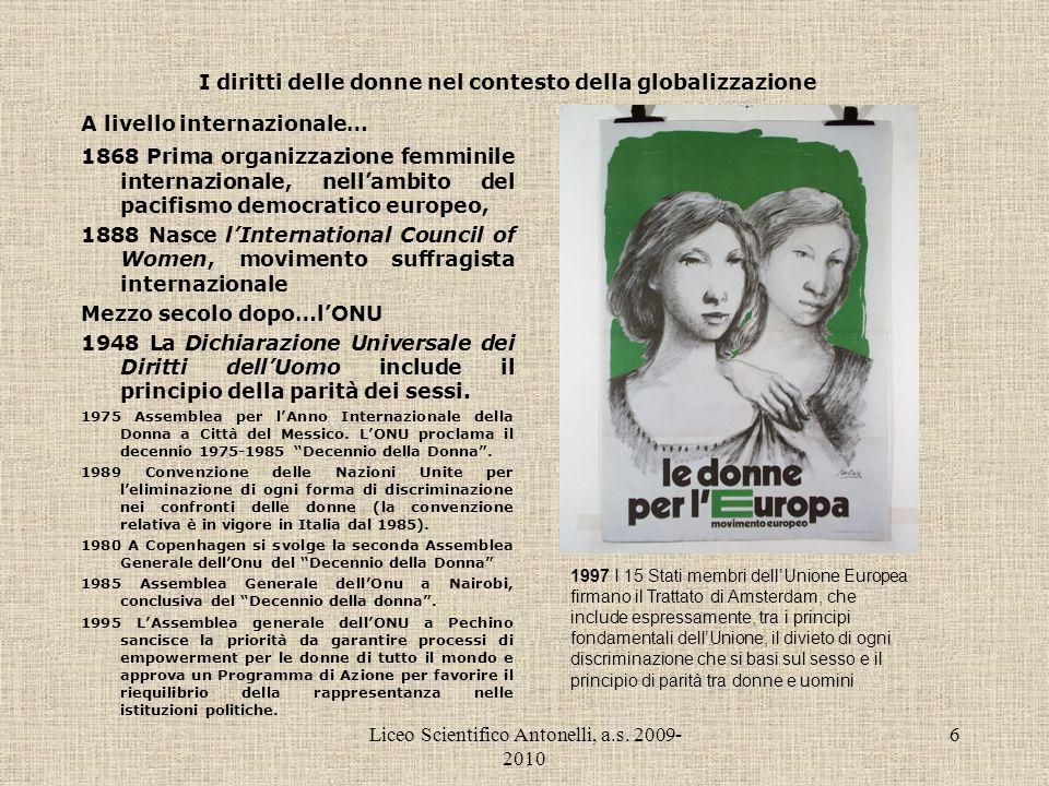 Liceo Scientifico Antonelli, a.s. 2009- 2010 6 I diritti delle donne nel contesto della globalizzazione A livello internazionale… 1868 Prima organizza