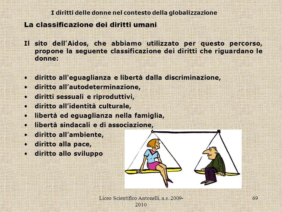 Liceo Scientifico Antonelli, a.s. 2009- 2010 69 I diritti delle donne nel contesto della globalizzazione La classificazione dei diritti umani Il sito