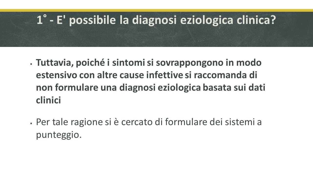 2° - Esistono sistemi a punteggio basati su dati clinici utili per la diagnosi.