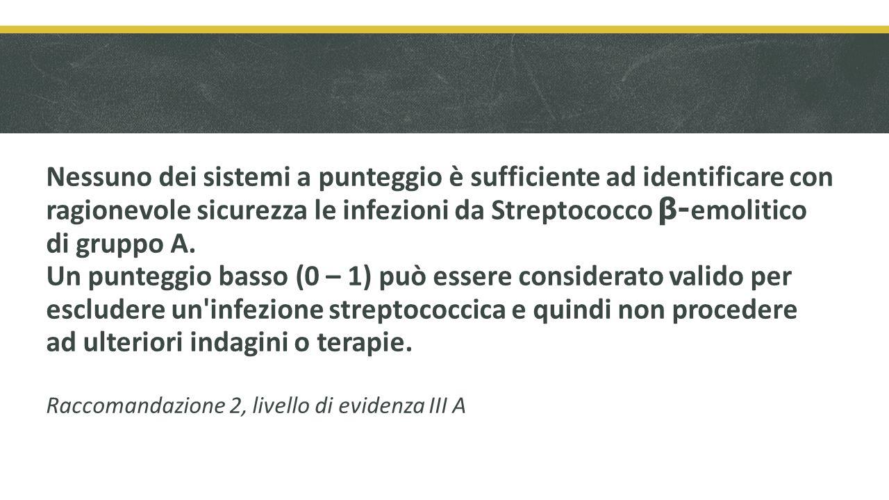 Nessuno dei sistemi a punteggio è sufficiente ad identificare con ragionevole sicurezza le infezioni da Streptococco β- emolitico di gruppo A.
