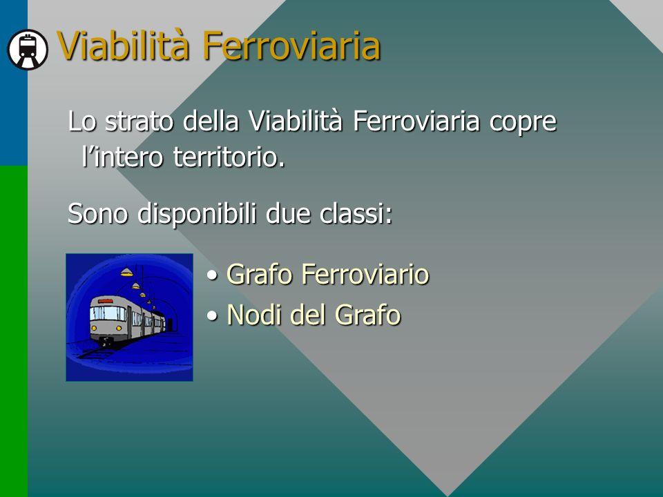 Viabilità Ferroviaria Lo strato della Viabilità Ferroviaria copre lintero territorio. Sono disponibili due classi: Grafo FerroviarioGrafo Ferroviario
