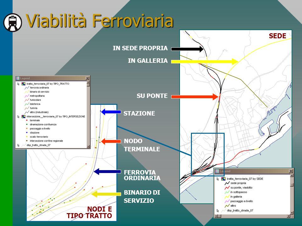 Viabilità Ferroviaria IN GALLERIA IN SEDE PROPRIA SU PONTE FERROVIA ORDINARIA BINARIO DI SERVIZIO NODO TERMINALE STAZIONE SEDE NODI E TIPO TRATTO