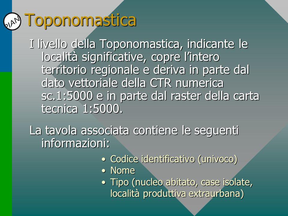 Toponomastica I livello della Toponomastica, indicante le località significative, copre lintero territorio regionale e deriva in parte dal dato vettor