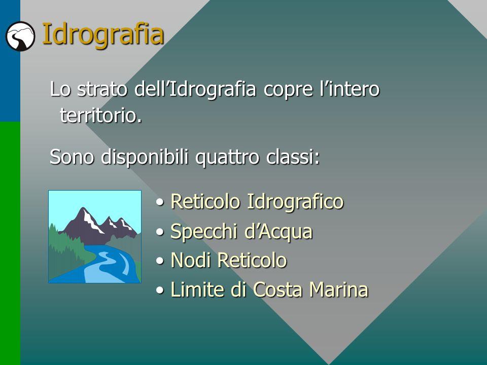 Idrografia Lo strato dellIdrografia copre lintero territorio. Sono disponibili quattro classi: Reticolo IdrograficoReticolo Idrografico Specchi dAcqua