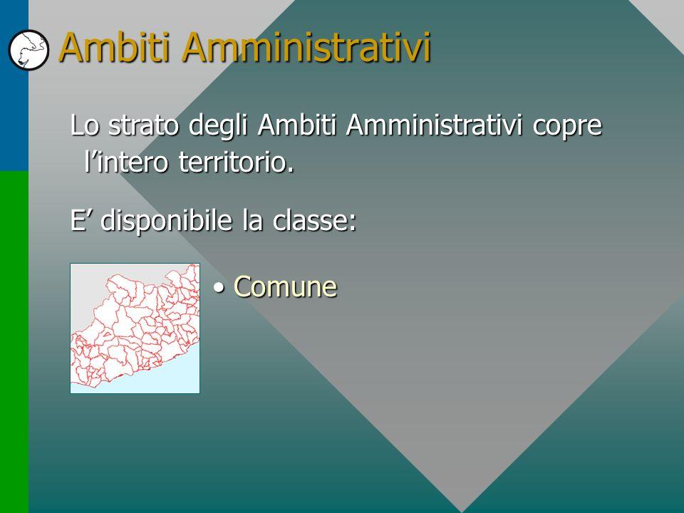 Ambiti Amministrativi Lo strato degli Ambiti Amministrativi copre lintero territorio. E disponibile la classe: ComuneComune