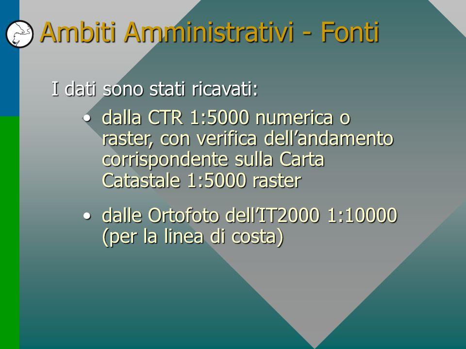 Ambiti Amministrativi - Fonti I dati sono stati ricavati: dalla CTR 1:5000 numerica o raster, con verifica dellandamento corrispondente sulla Carta Ca