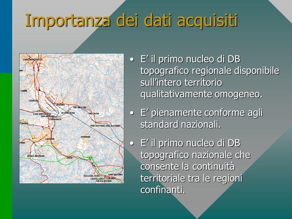 Importanza dei dati acquisiti E il primo nucleo di DB topografico regionale disponibile sullintero territorio qualitativamente omogeneo.E il primo nuc