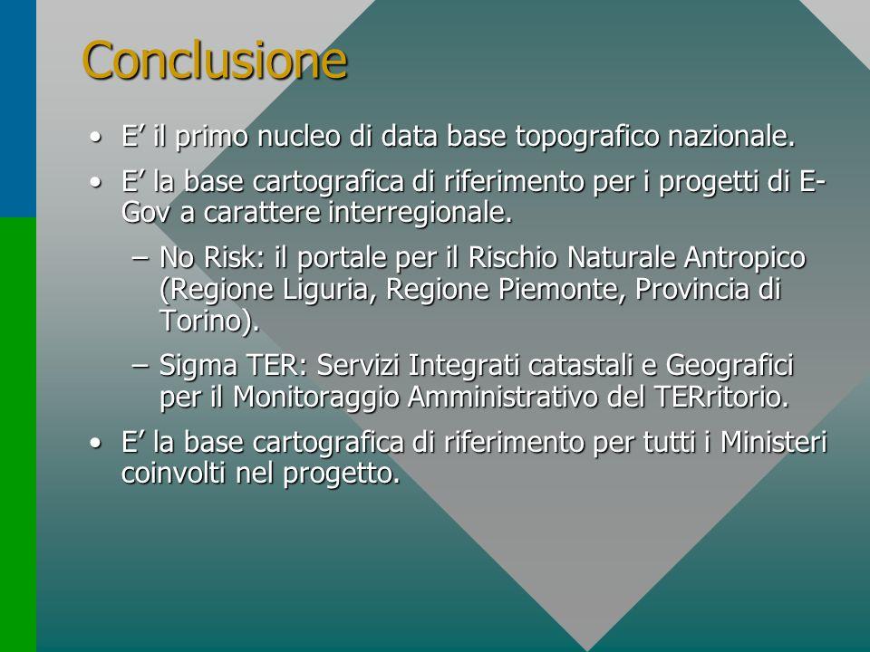 Conclusione E il primo nucleo di data base topografico nazionale.E il primo nucleo di data base topografico nazionale. E la base cartografica di rifer