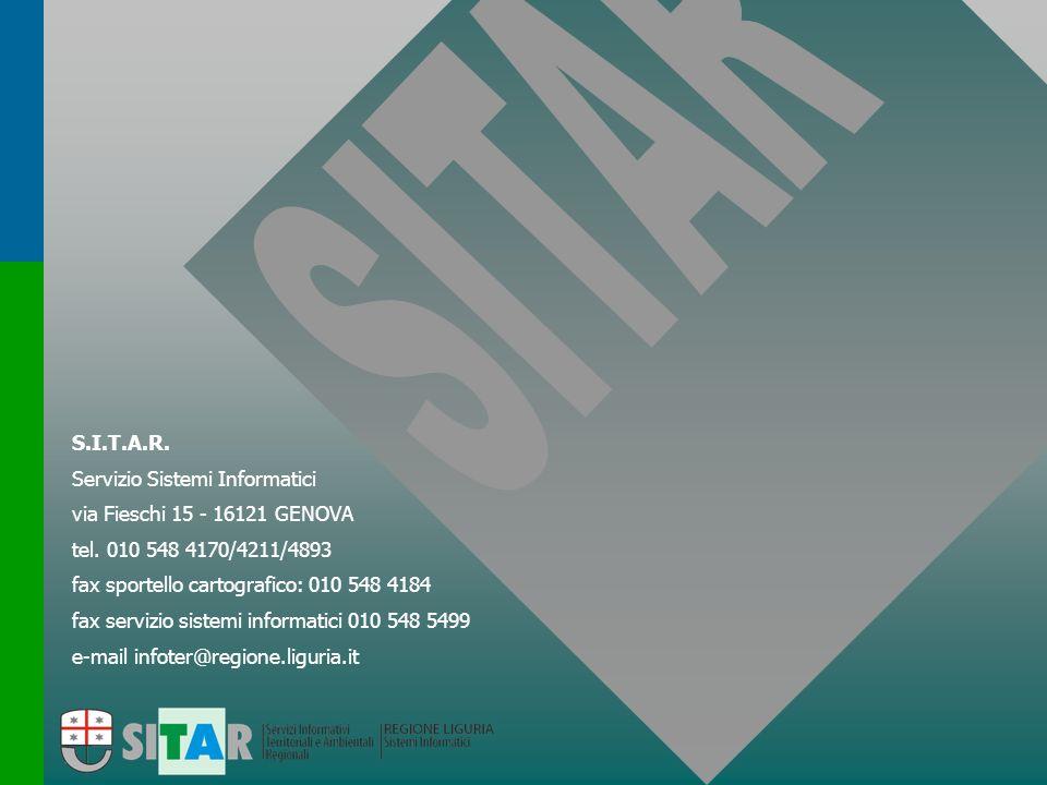 e-mail infoter@regione.liguria.it fax servizio sistemi informatici 010 548 5499 fax sportello cartografico: 010 548 4184 tel. 010 548 4170/4211/4893 v