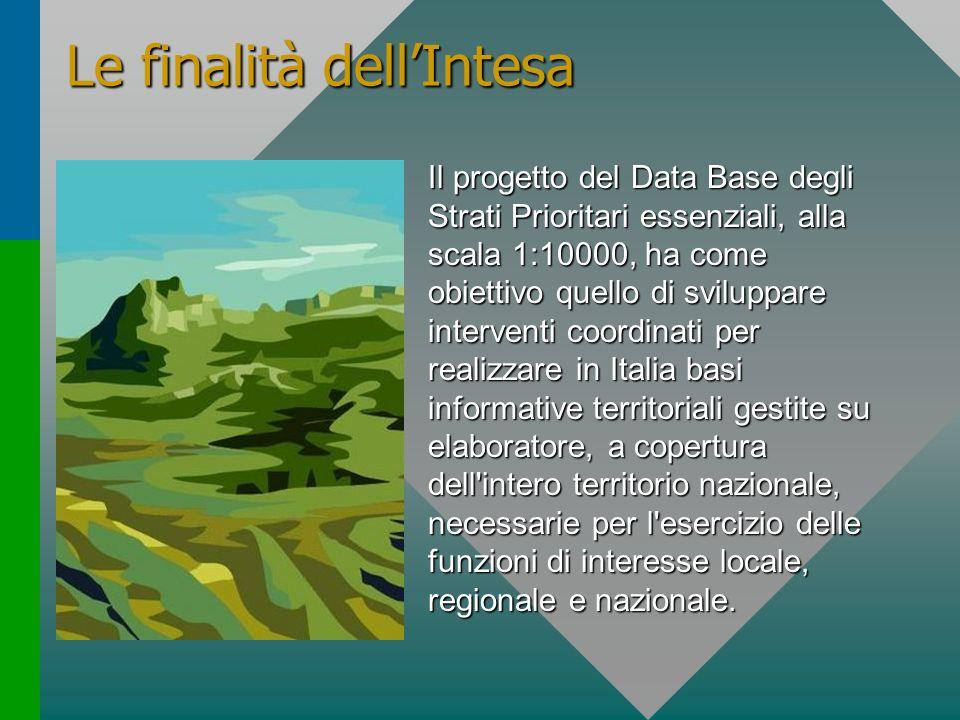 Le finalità dellIntesa Il progetto del Data Base degli Strati Prioritari essenziali, alla scala 1:10000, ha come obiettivo quello di sviluppare interv