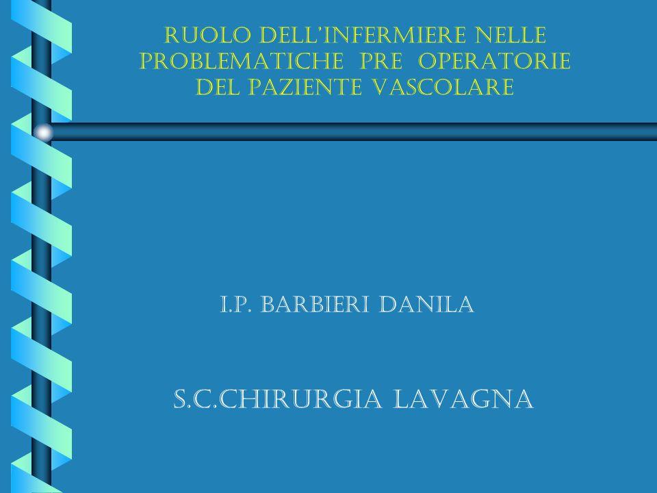 RUOLO DELLINFERMIERE NELLE PROBLEMATICHE PRE OPERATORIE DEL PAZIENTE VASCOLARE S.C.CHIRURGIA LAVAGNA I.P. BARBIERI DANILA