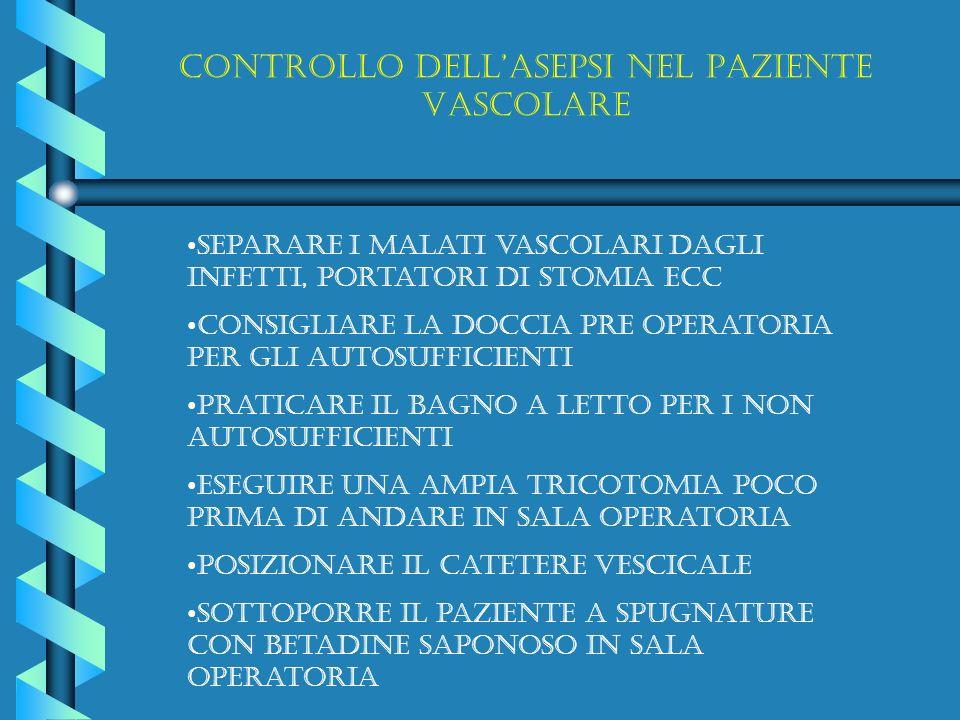 Controllo dellasepsi nel paziente vascolare Separare I malati vascolari dagli infetti, portatori di stomia ECC Consigliare la doccia pre operatoria pe
