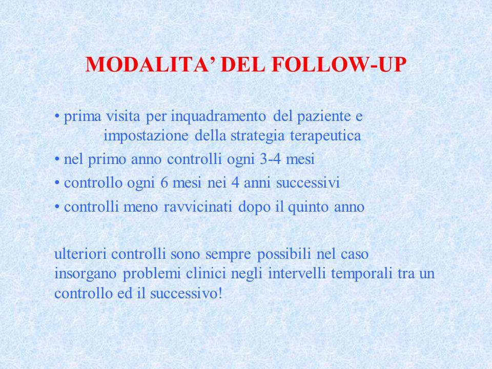 MODALITA DEL FOLLOW-UP prima visita per inquadramento del paziente e impostazione della strategia terapeutica nel primo anno controlli ogni 3-4 mesi c