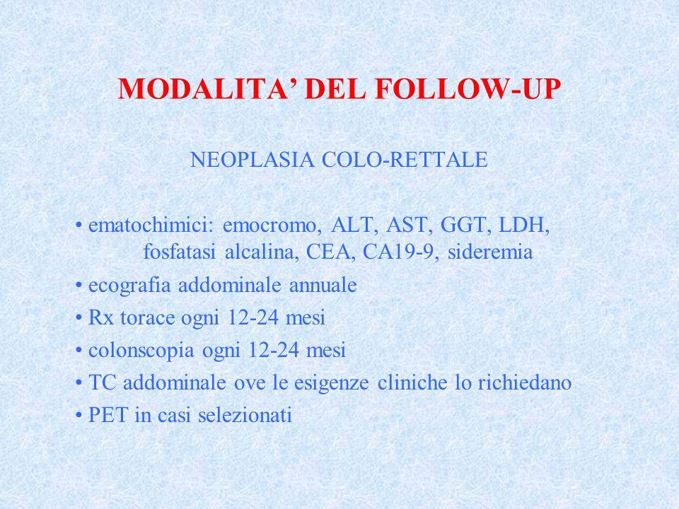 MODALITA DEL FOLLOW-UP NEOPLASIA COLO-RETTALE ematochimici: emocromo, ALT, AST, GGT, LDH, fosfatasi alcalina, CEA, CA19-9, sideremia ecografia addomin