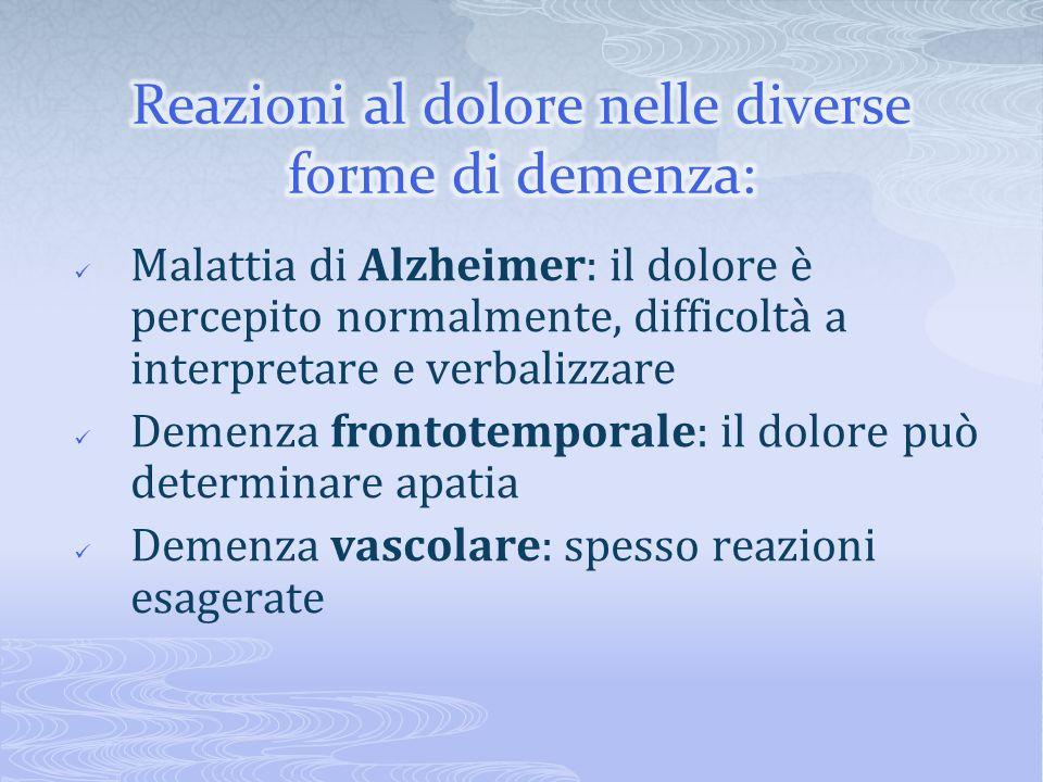 Malattia di Alzheimer: il dolore è percepito normalmente, difficoltà a interpretare e verbalizzare Demenza frontotemporale: il dolore può determinare