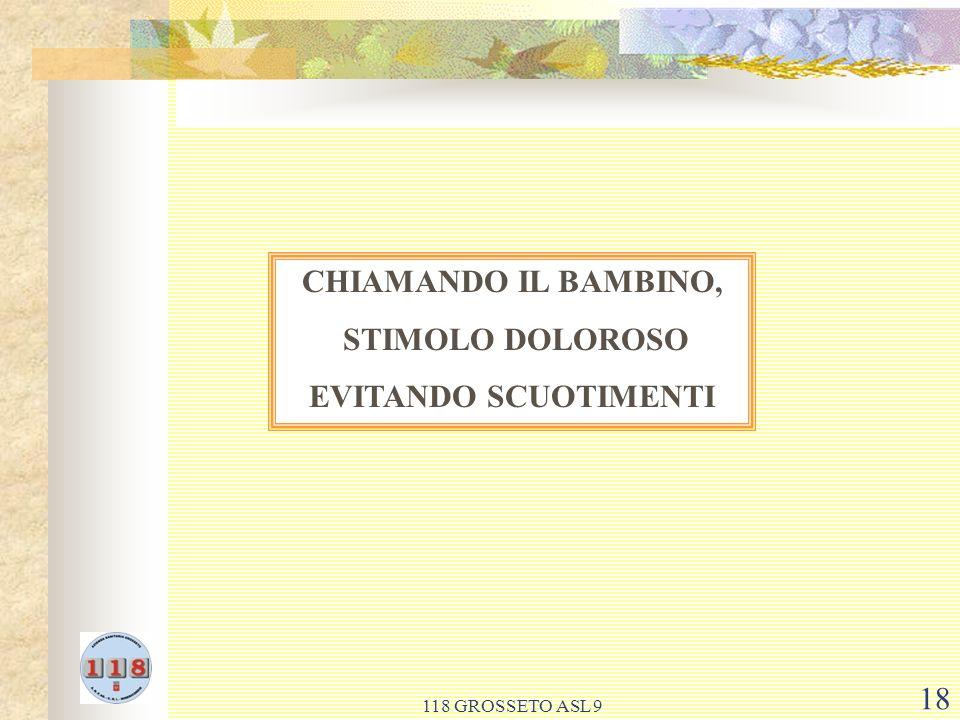 118 GROSSETO ASL 9 18 CHIAMANDO IL BAMBINO, STIMOLO DOLOROSO EVITANDO SCUOTIMENTI