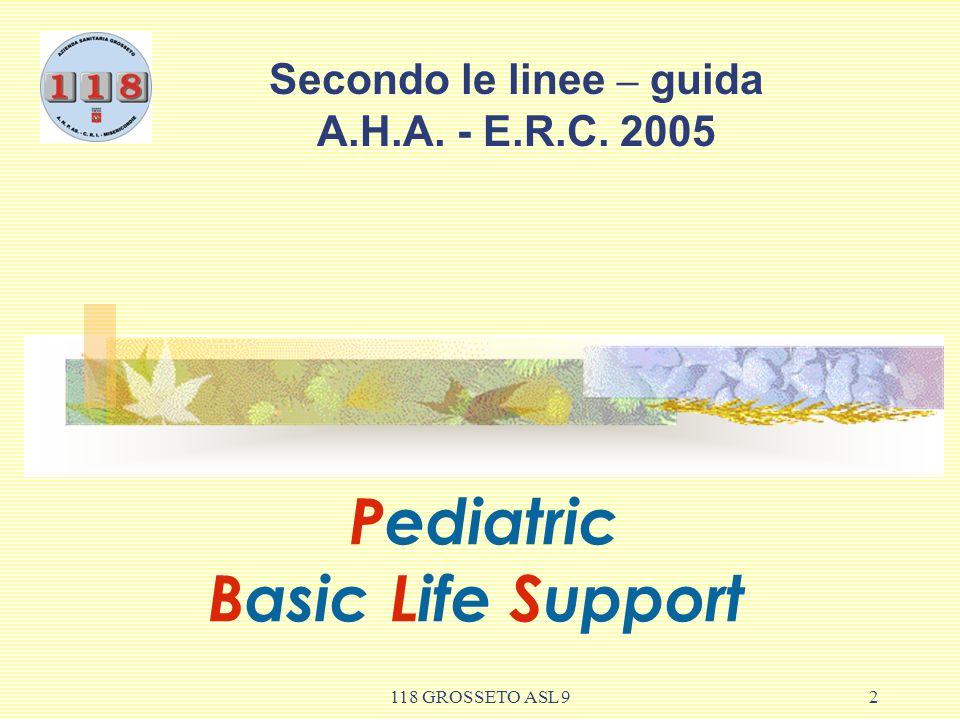 118 GROSSETO ASL 9 3 OBIETTIVO DEL PBLS Maggiore sopravvivenza Con integrità neurologica Sono in stretta relazione con RCP precoce e di alta qualità.