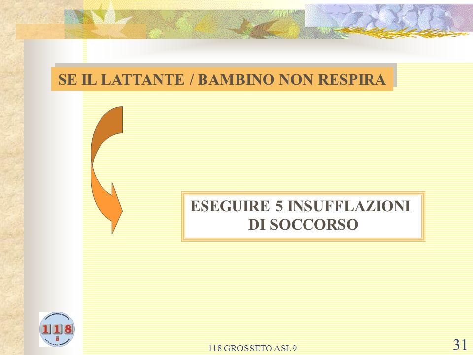 118 GROSSETO ASL 9 31 SE IL LATTANTE / BAMBINO NON RESPIRA ESEGUIRE 5 INSUFFLAZIONI DI SOCCORSO