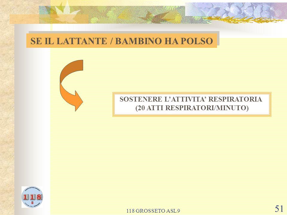 118 GROSSETO ASL 9 51 SE IL LATTANTE / BAMBINO HA POLSO SOSTENERE LATTIVITA RESPIRATORIA (20 ATTI RESPIRATORI/MINUTO)
