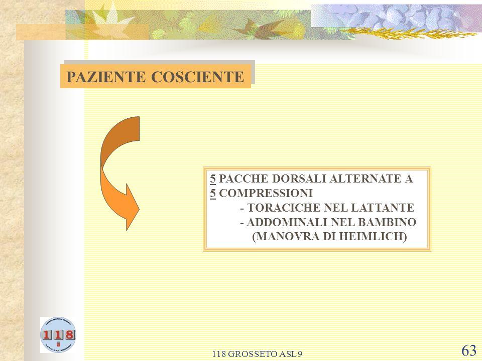 118 GROSSETO ASL 9 63 PAZIENTE COSCIENTE 5 PACCHE DORSALI ALTERNATE A 5 COMPRESSIONI - TORACICHE NEL LATTANTE - ADDOMINALI NEL BAMBINO (MANOVRA DI HEIMLICH)