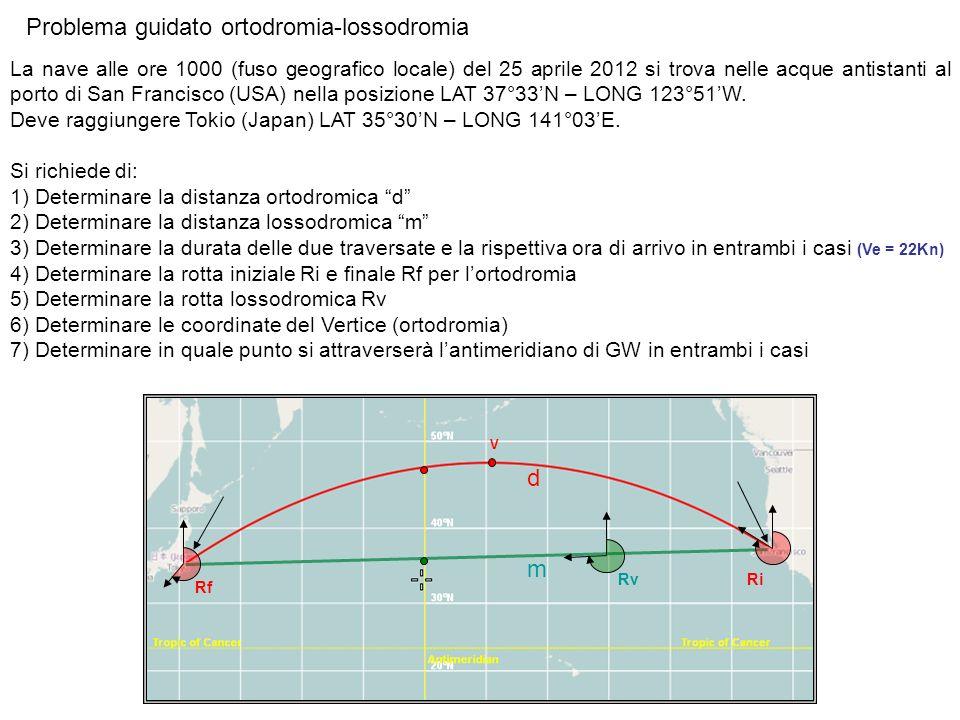 Problema guidato ortodromia-lossodromia La nave alle ore 1000 (fuso geografico locale) del 25 aprile 2012 si trova nelle acque antistanti al porto di
