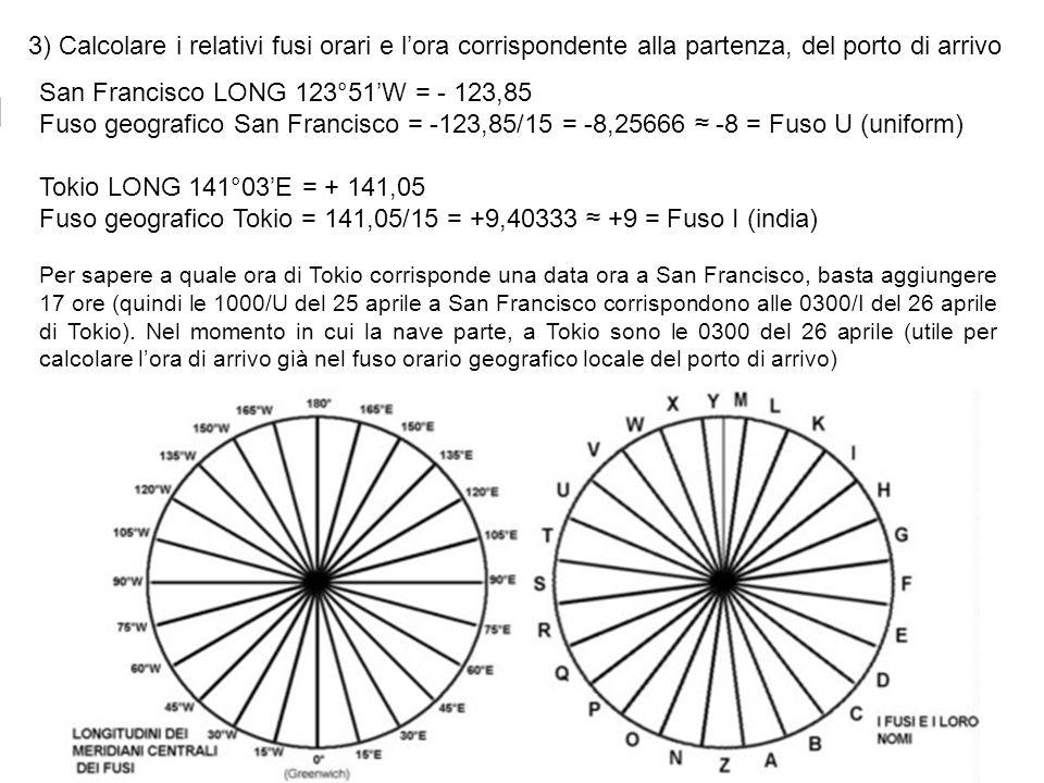 3) Calcolare i relativi fusi orari e lora corrispondente alla partenza, del porto di arrivo San Francisco LONG 123°51W = - 123,85 Fuso geografico San