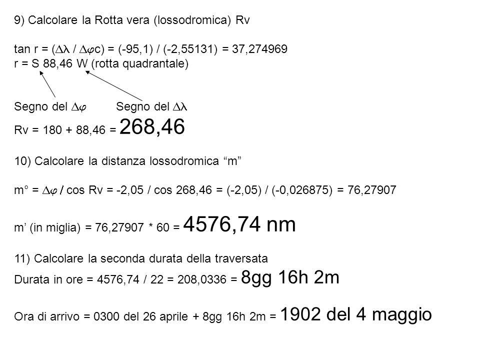 9) Calcolare la Rotta vera (lossodromica) Rv tan r = ( / c) = (-95,1) / (-2,55131) = 37,274969 r = S 88,46 W (rotta quadrantale) Segno del Segno del R