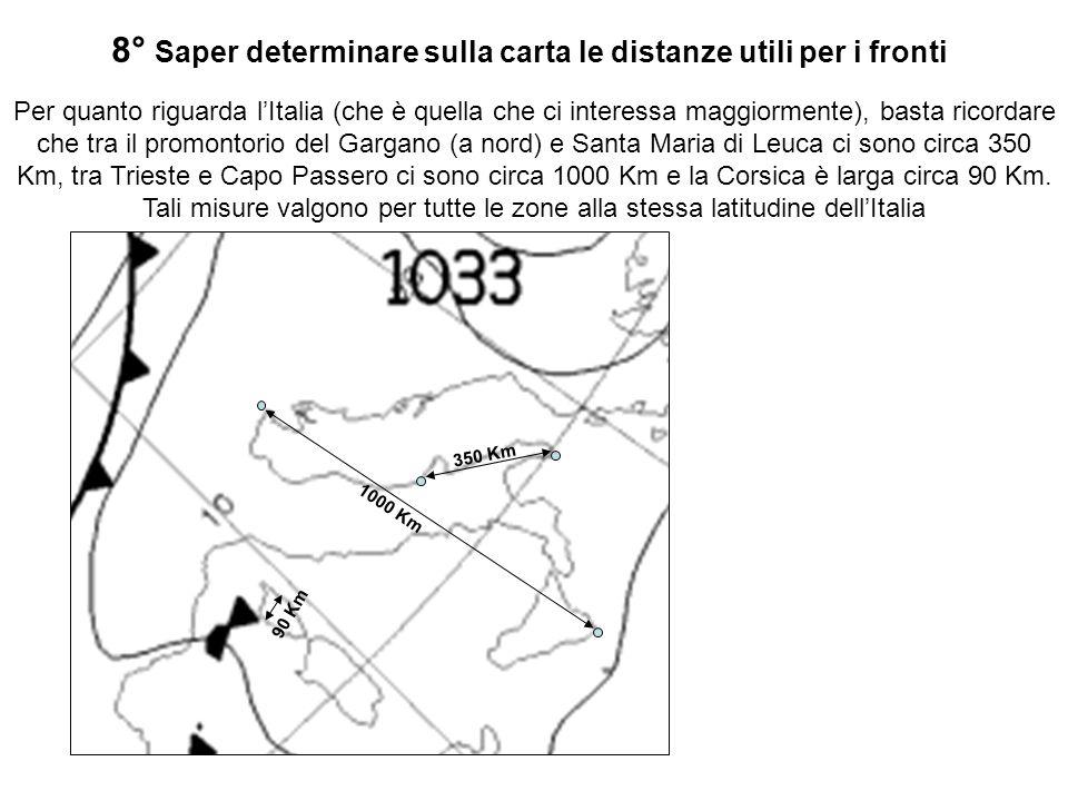 8° Saper determinare sulla carta le distanze utili per i fronti Per quanto riguarda lItalia (che è quella che ci interessa maggiormente), basta ricord