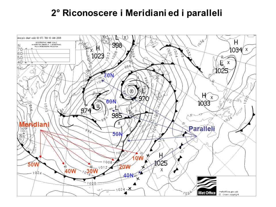 2° Riconoscere i Meridiani ed i paralleli Meridiani 50W 40W30W 20W 10W Paralleli 70N 60N 50N 40N