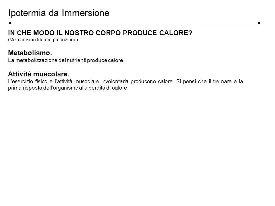 Ipotermia da Immersione IN CHE MODO IL NOSTRO CORPO PRODUCE CALORE? (Meccanismi di termo-produzione) Metabolismo. La metabolizzazione dei nutrienti pr