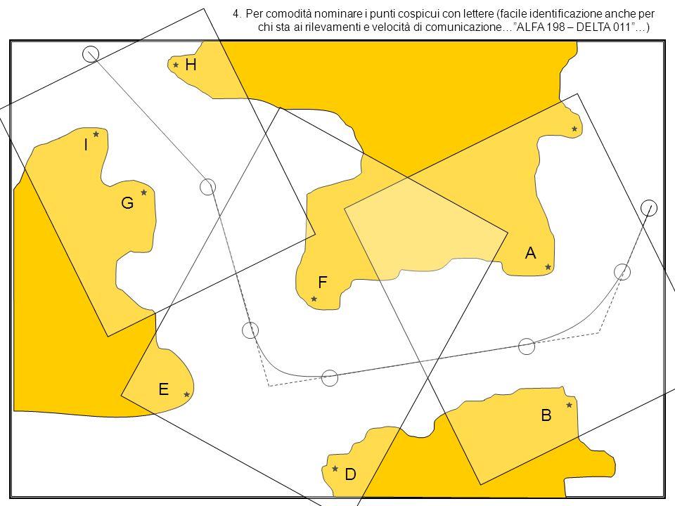 4. Per comodità nominare i punti cospicui con lettere (facile identificazione anche per chi sta ai rilevamenti e velocità di comunicazione…ALFA 198 –