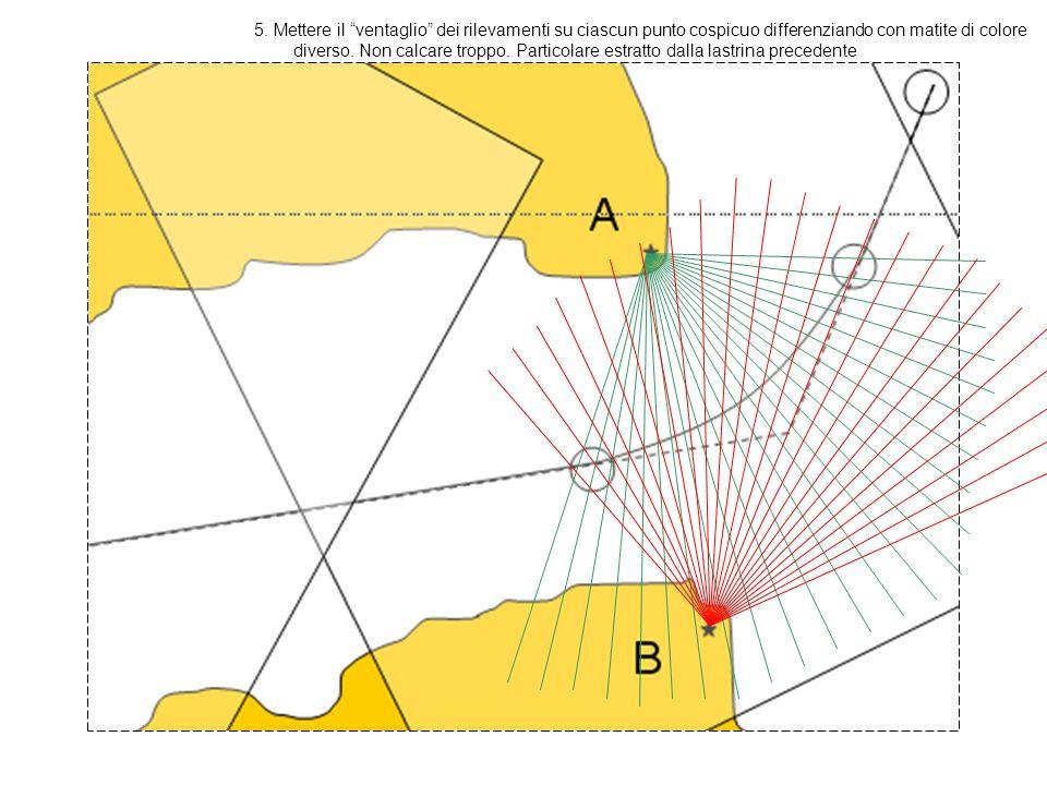 5. Mettere il ventaglio dei rilevamenti su ciascun punto cospicuo differenziando con matite di colore diverso. Non calcare troppo. Particolare estratt