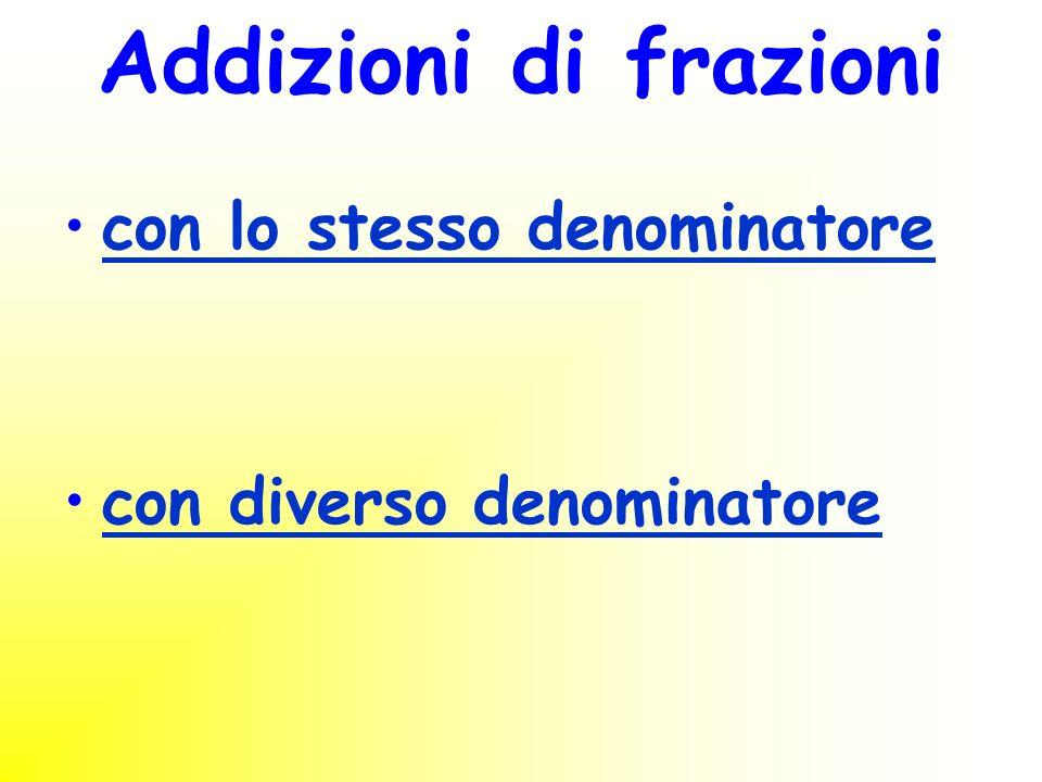 Addizioni di frazioni con lo stesso denominatore con diverso denominatore