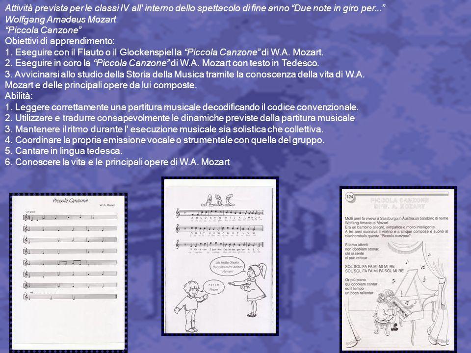 Attività prevista per le classi IV all' interno dello spettacolo di fine anno Due note in giro per... Wolfgang Amadeus Mozart Piccola Canzone Obiettiv
