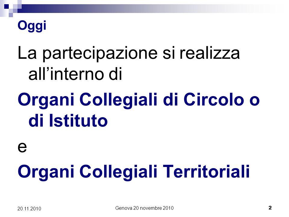 Genova 20 novembre 20102 20.11.2010 Oggi La partecipazione si realizza allinterno di Organi Collegiali di Circolo o di Istituto e Organi Collegiali Territoriali