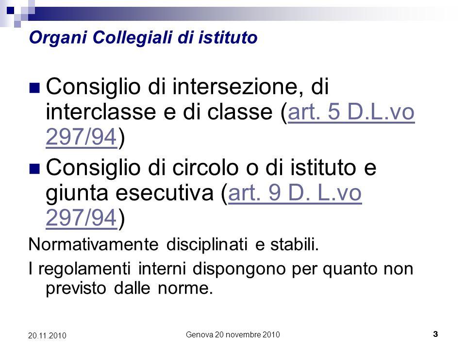 Genova 20 novembre 20103 20.11.2010 Organi Collegiali di istituto Consiglio di intersezione, di interclasse e di classe (art.