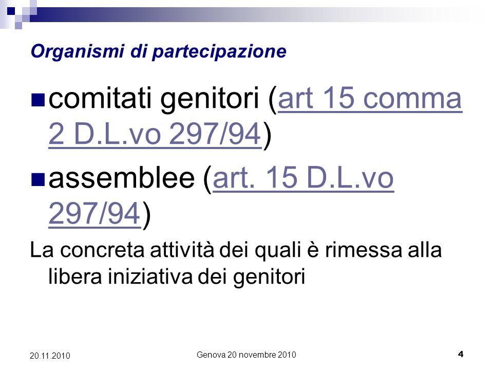 Genova 20 novembre 20104 20.11.2010 Organismi di partecipazione comitati genitori (art 15 comma 2 D.L.vo 297/94)art 15 comma 2 D.L.vo 297/94 assemblee (art.
