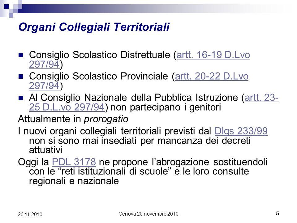 Genova 20 novembre 20105 20.11.2010 Organi Collegiali Territoriali Consiglio Scolastico Distrettuale (artt.
